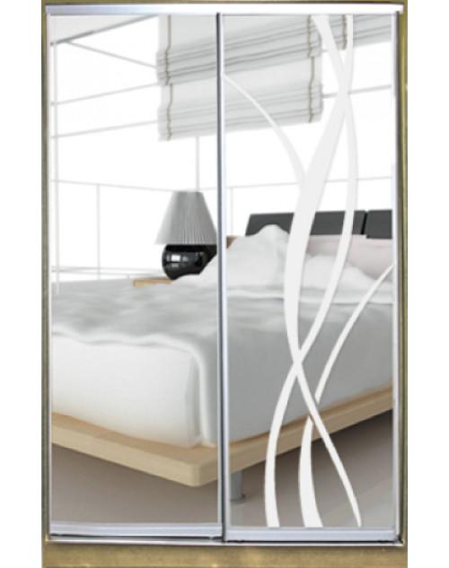 Шкаф-купе Стандарт двухдверный Зеркало с рисунком